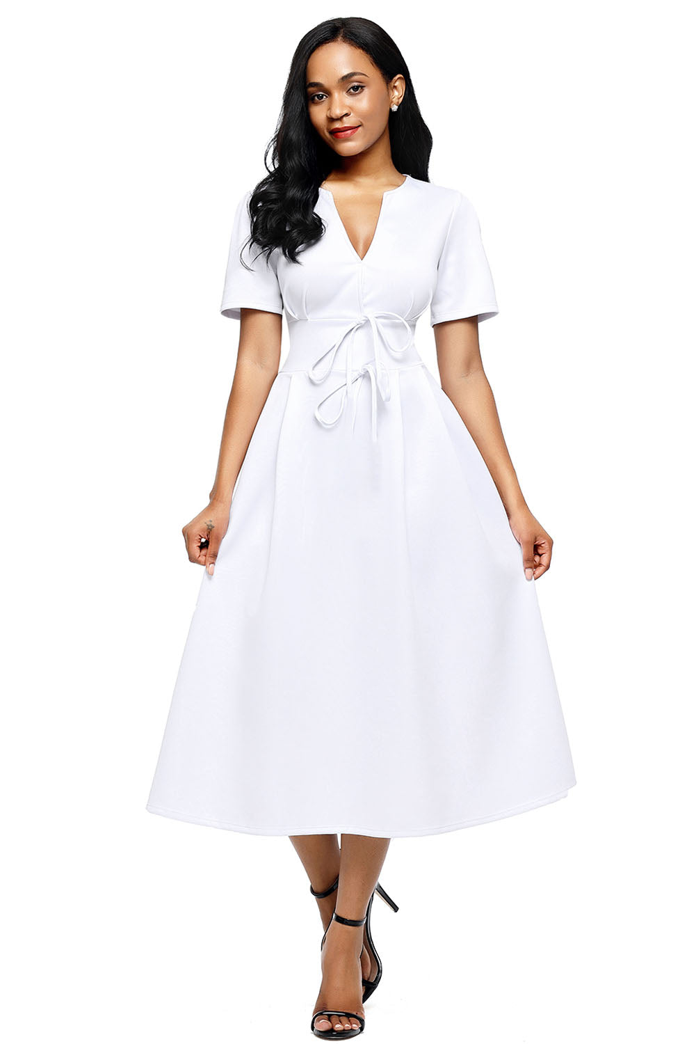 Her Gorgeous White Split Neck Short Sleeve Midi Dress with Bowknots