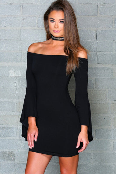 Her Graceful Black Flare Long Sleeve Off Shoulder Trendy Party Cocktail Dress