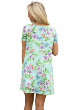 Her Green Pocket Design Summer Floral Sleek Shirt Dress