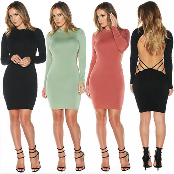 6838399d546ba Her Green Trendy Club Backless Long Sleeve Bodycon Party Prom Dress ...