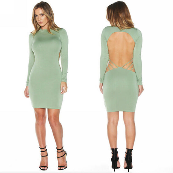 Her Green Trendy Club Backless Long Sleeve Bodycon Party Prom Dress