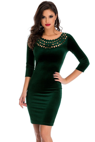 Her Dark Green Unique Hollow Out Round Neck Sleeved Velvet Dress