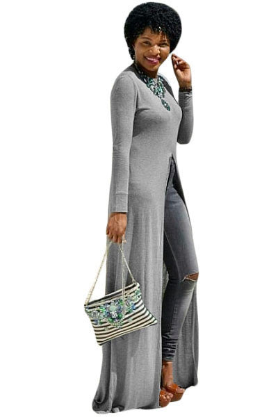 Her Grey Soft Jersey High Front Slit Long Maxi Shirt Dress Top