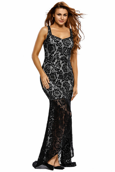 Her Grgeous Black Lace Nude Illusion Fishtail Glamorous Sheer Mesh Party Dress