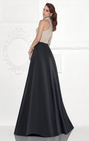 Her Halter Neckline Gleaming Beaded Full Long Skirt Gown