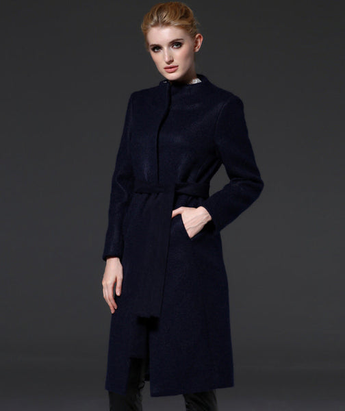 Her Haute Couture Blue Long Wool Coat