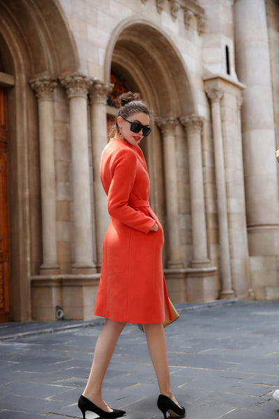 Her Haute Couture Orange Long Wool Coat