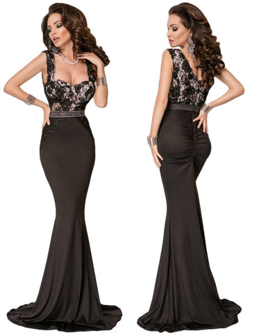Her Impress Maxi Lace V Back Top Mermaid Floor-Length Party Dress
