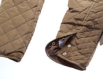 Her Stylish Khaki Diamond Quilted High Neck Cotton Cute Jacket