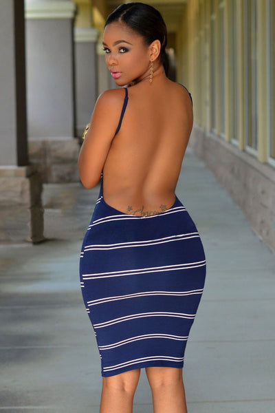 Her Knee-length & Skintight Trendy Navy White Stripes Women Dress