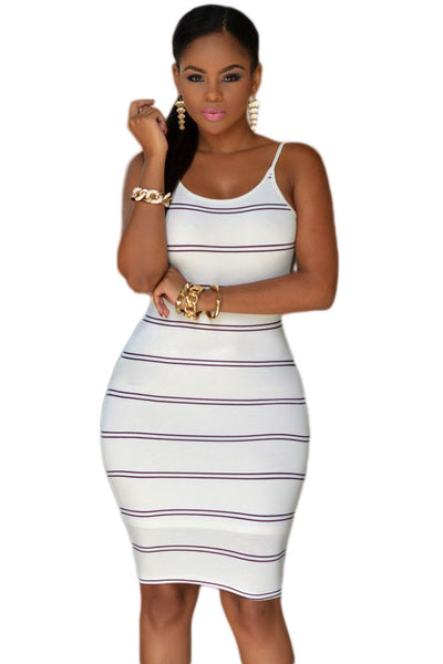 Her Knee-length & Skintight Trendy White Black Stripes Women Dress