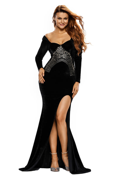 Her Lace Embroidery Accent High Split Elegant Black Velvet Dress