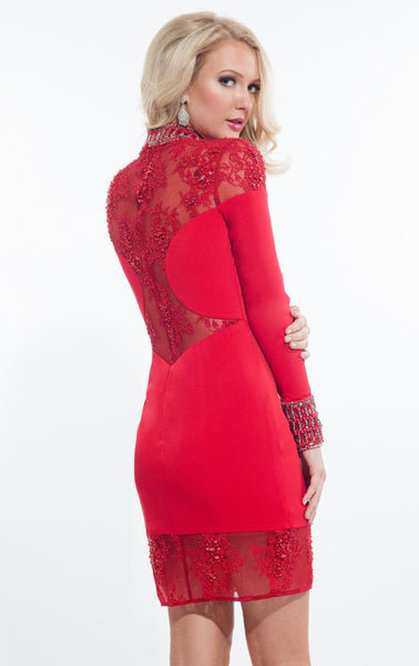 Her Lace Jersey Beaded Embellishments Round the Cuffs Mini Dress