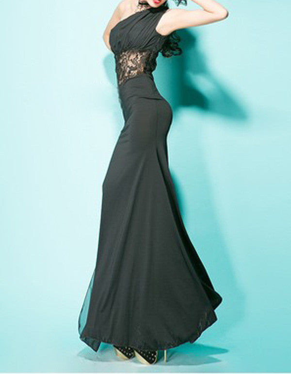 Her Lace Splicing One-Shoulder Sleeveless Glamorous Women's Dress