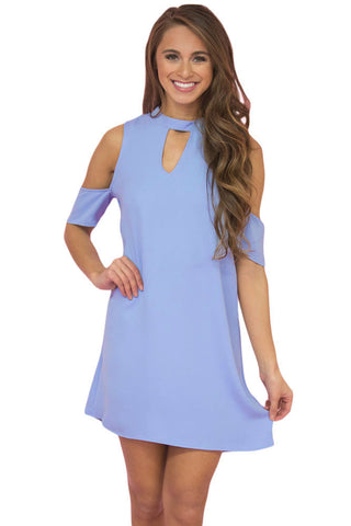 Her Light Blue Artful Keyhole and Cold Shoulder Trendy Mini Dress