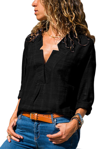 Her Lightweight Black Crepe Plaid Notched Neckline Blouse