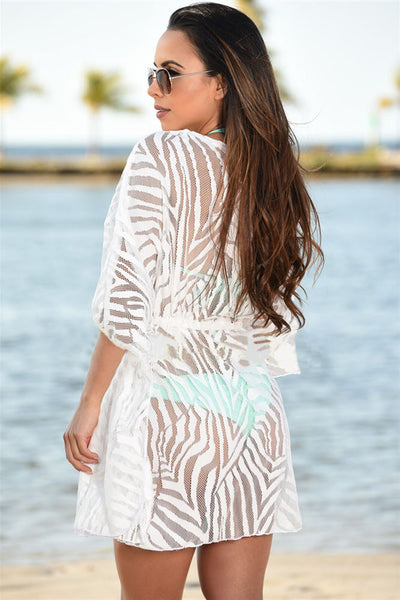 Her Lightweight Black Animal Print Drawstring Cover Up Dress