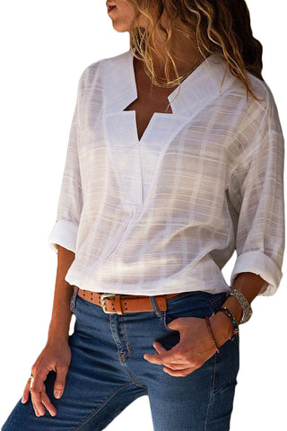 Her Lightweight White Crepe Plaid Notched Neckline Blouse