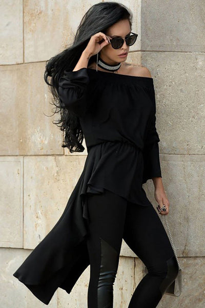 Her Loose Fit Black Off Shoulder Accent Elastic Irregular Hem Blouse