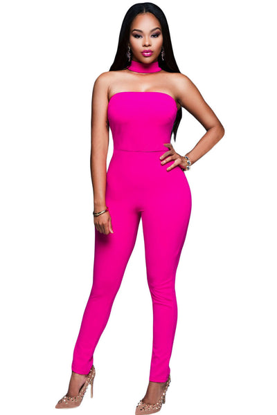 Her Luxuriously Trendy Rosy Strapless Choker Jumpsuit