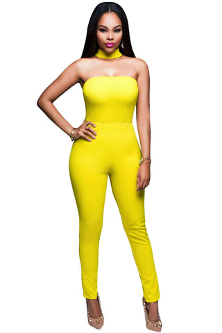 Her Luxuriously Trendy Yellow Strapless Choker Jumpsuit