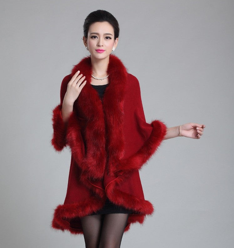 Her Maroon Cashmere Poncho With Contrast Faux Fox Fur Trim Collar