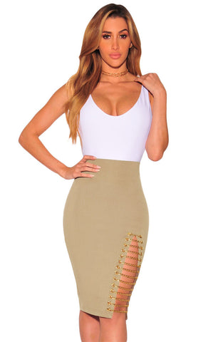 Her Modern Intrigue Khaki Gold Chain Slit Skirt