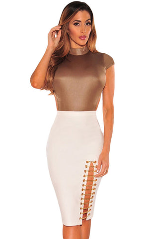Her Modern Intrigue White Gold Chain Slit Skirt