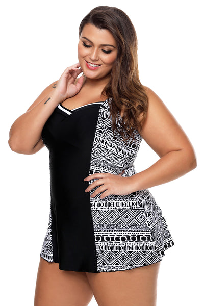 Her Modern Monochrome Print Panel Accent 1pcs Swimdress Chic Swimsuit