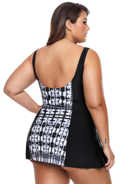 Her Modern Monochrome Print Panel Accent 1pcs Plus Size Swimdress