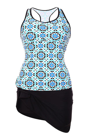 Her Modest Abstract Print Racerback Tankini Blue Skort Swimsuit