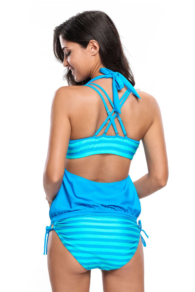 Her Modest Cyan Blue Striped Bathing Suit with Halter Beach Cover Top