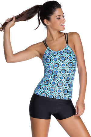 Her Modest Bluish Patterned Shirr Tankini with Square Shorts Swimsuit