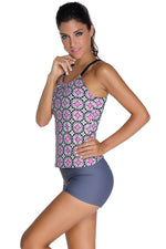 Her Modest Grayish Patterned Shirr Tankini with Square Shorts Swimsuit