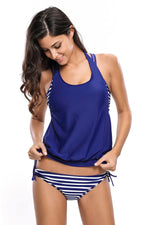 Her Modest Navy White Striped Bathing Suit with Halter Beach Cover Top