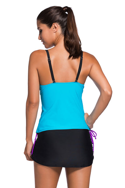 Her Modest Purple Blue Colorblock Tankini Skort Bottom Swimsuit