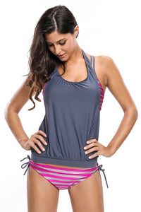 Her Modest Rosy Grey Striped Bathing Suit with Halter Beach Cover Top