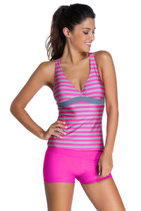 Her Modest Blue Striped Racerback Tankini and Swim Shorts Swimsuit