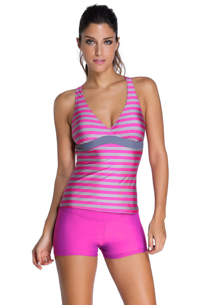 Her Modest Rosy Striped Racerback Tankini and Swim Shorts Swimsuit