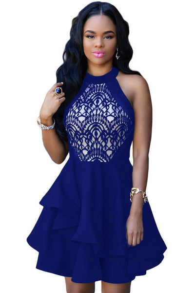 Her Modish Style Blue Lace Nude Irregular Layered Skater Dress