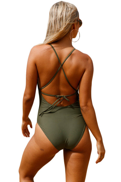 Her Monokini Black Crochet Front Detail One Piece Bathing Suit
