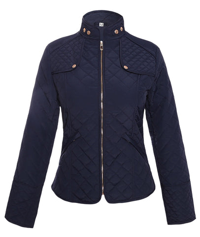 Her Stylish Navy Diamond Plaid Quilted Cotton Fashion Jacket