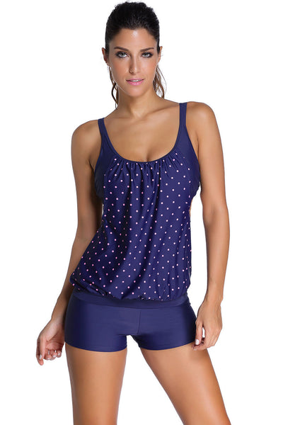 Her Navy Modest Layered-Style Chic Tankini with Swim Trunks Swimsuit