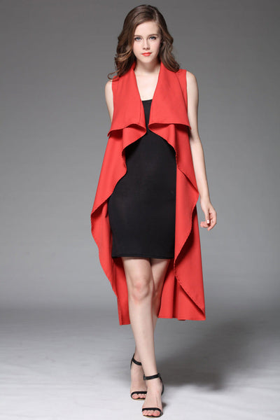 Her New Long Fashion Women Open Stitch Red Cloak Trench Coats