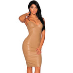 Her New Off the Shoulder Khaki Faux Leather Strapless Party Dress