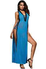 Her Nightgown Blue Sheer Lace Gown for The Valentine's Day