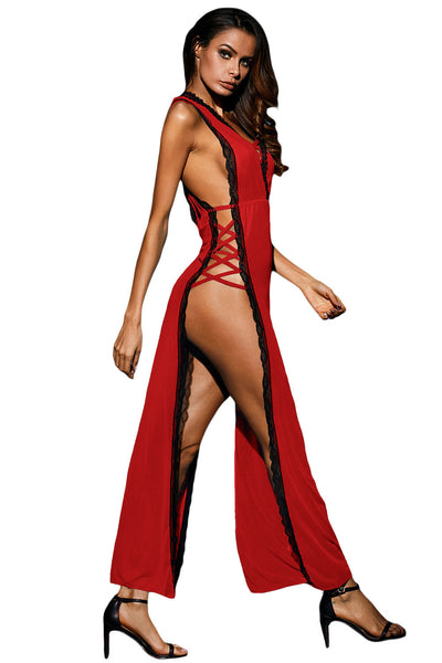 Her Nightgown Red Sheer Lace Gown for The Valentine's Day