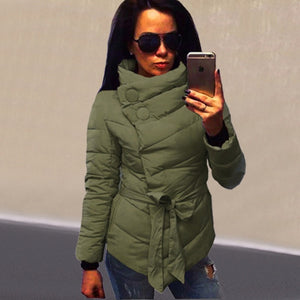 Her Olive Winter Casual Slim Irregular Cotton Turtleneck Button Jacket