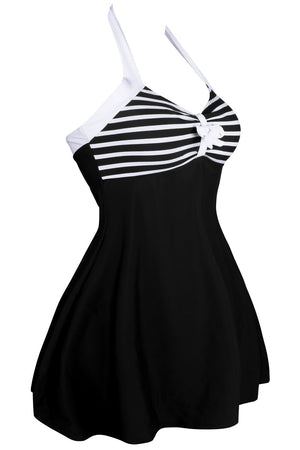 Her One-piece Flattering Swimsuit Black White Polka Dot Swimdress