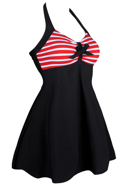 Her One-piece Flattering Swimwear Black White Polka Dot Swimdress